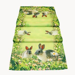 Tischdecke 85  x 85 cm Tischdecke Mitteldecke Ostern Tischdeko Frühling grün bunt Osterhasen Osterdekoration