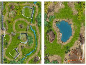 BUNDLE SM07 & SM02 Dinosaurier & Dinosaurier Park Spielmatten (ähnlich Spielteppich)   Spiel-Matte   ideales Zubehör zu Spiel-Figuren von Schleich, Playmobil, Papo, Bullyland   150x100 cm