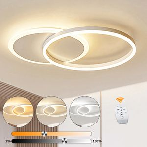 LED Deckenleuchte 2 Ringe 55cm 25W dimmbar mit Fernbedienung Schlafzimmer LED Deckenleuchte