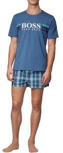 BOSS Herren Pyjama kurz aus Baumwolle mit Logo und Jersey-Beutel Blau (Medium Blue 420) L