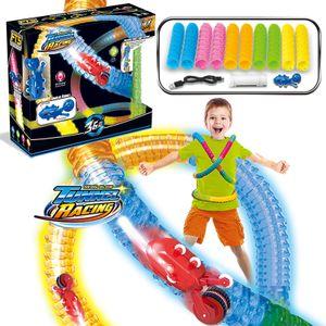Rennstrecke Spielzeug - Neon Glow Neo Tracks Twister Tracks 218 Stück Flexible Montage Track Set