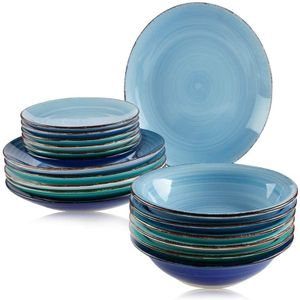 Teller Geschirr Set 18 x Suppenteller Dessertteller Kuchen Tafel Blau