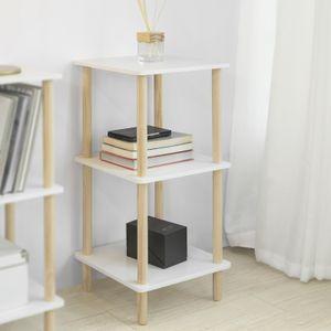 SoBuy STR02-K-WN Standregal mit 3 Ablagen Aufbewahrungsregal Bücherregal Küchenregal Allzweckregal Beine aus Kiefer weiß/Natur