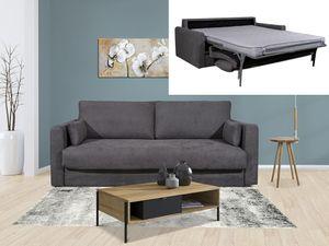 Schlafsofa mit Matratze 3-Sitzer WALLACE - Stoff - Grau