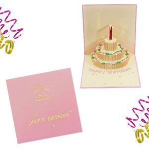 Oblique Unique 3D Geburtstagskarte Grußkarte Happy Birthday Pop Up Karte - rosa