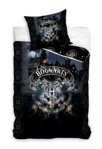 Harry Potter Teenager Wende-Bettwäsche Set 135x200 80x80cm Baumwolle Linon Schwarz