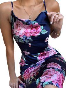 Damen Sexy Sling Kleid Schlankes Abendkleid,Farbe: Navy blau,Größe:S