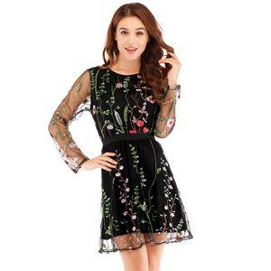 Frauen Blumenstickerei Kleid Sheer Mesh Sommer Boho Minikleid Durchsichtig Vestidos M