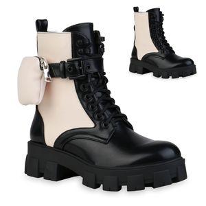 Mytrendshoe Damen Stiefeletten Plateau Boots Taschen Leicht Gefütterte Stiefel 835892, Farbe: Schwarz Beige, Größe: 38