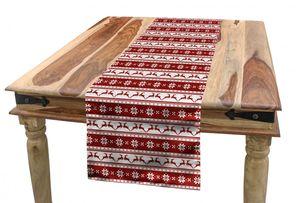 ABAKUHAUS Weihnachten Tischläufer, skandinavisch, Esszimmer Küche Rechteckiger Dekorativer Tischläufer, 40 x 300 cm, Weiß Rot
