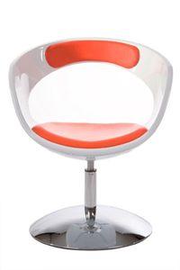 Casa Padrino Designer Stuhl Weiß/Rot, drehbar - Moderner Stuhl