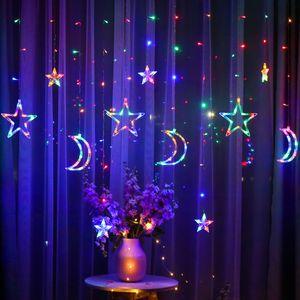 LED Sterne Monde Lichtervorhang Vorhang Lichterkette 8 Beleuchtungsmodi Innendeko, Mehrfarbig