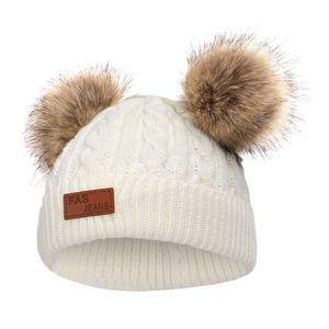 Baby Beanie Mütze Strickmütze Wintermütze mit Bommel Fotoshooting Kostüm Farbe whtie