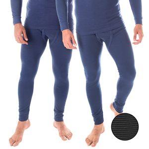 Thermounterhose | 2er Set | Herren Thermo Unterhosen | Ringelmuster - Jeansblau - 5/M
