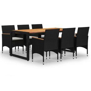 Gartenmöbel Essgruppe 6 Personen ,7-TLG. Terrassenmöbel Balkonset Sitzgruppe: Tisch mit 6 Stühle, Schwarz❀7052