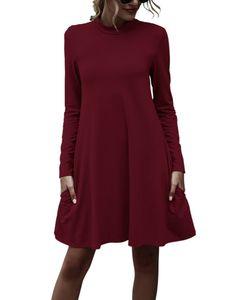 Damen High Collar Langarm Kleid Frauen Herbst Winter Solid Pocket Kleider Jerseykleider,Farbe:Rot,Größe:S