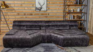 XXL Big Sofa Velvet Vintage inkl. Kissen versch. Farben KAWOLA anthrazit TARA
