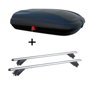 Dachbox VDPBA320 320Ltr carbonlook abschließbar  + Alu Dachträger RB003 kompatibel mit Volkswagen Touran (5Türer) ab 2015