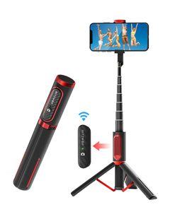 Bluetooth Selfie Stick Stativ, BlitzWolf Aluminium All-in-one Monopod Wireless Selfie-Stange Stab mit Bluetooth Fernbedienung für iPhone 11/11 Pro/11 Pro Max/XS/XS Max/XR/X/8, Galaxy S10/9/8/7, Huawei - Schwarz