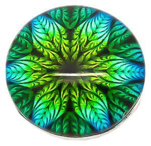 1 Wechsel - Chunks / Click Buttons, 'Paradise Flower', Aluminium, Knauf ca. 5,5mm