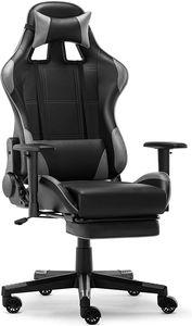 Racing Gamer Stuhl, Bürostuhl, Ergonomischer höhenverstellbarer Schreibtischstuhl  mit Fußstützen, Grau
