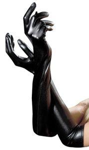 Frauen Schwarz Faux Leder Lange Handschuhe Latex Lange Handschuhe