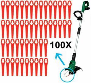 Melario 100x Kunststoff Ersatzmesser Kunststoffmesser für Einhell Akku Rasentrimmer Rot