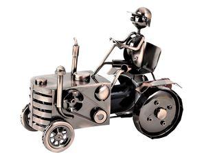 Flaschenhalter Traktor aus Metall 25 x 29 cm für Weinflasche