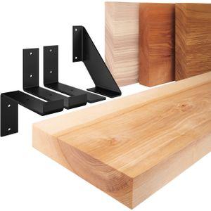 LAMO Manufaktur Wandregal Holz, Bücherregal, Hängeregal Industrial, Natur / Weiß 100cm, LWG-01-A-002-100JW
