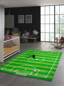 Kinderteppich Fußball Teppich in Grün Hellgrün Schwarz Weiss Größe - 140x200 cm