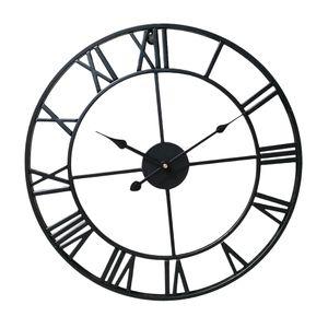 Vintage Runde Retro Zeit große Anzeige Uhr Mechanismus Wanduhr Quarz schwarz 40cm Dia Art Deco