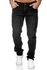 Herren Jeans Hose Klassisch Denim Regular Fit Used Washed , Farben:Schwarz, Größe Jeans:32W