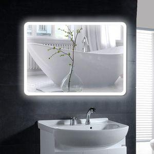 BadspiegelKühles-Weiß LED Badezimmerspiegel Wandspiegel 50*70cm Wasserdicht