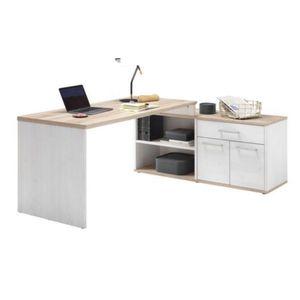 Schreibtisch Winkel Arbeitstisch Bürotisch ROMANCE Sibiu Lärche Weiß / SanRemo Eiche Nb.ca. 177 x 76 x 130 cm