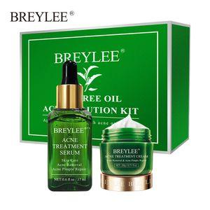 BREYLEE Teebaum Akne Lösung Kit Akne Behandlung Serum Gesichtscreme Pickel Entfernung Essenz
