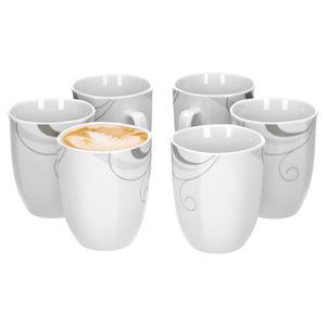 Portofino 6er Set Kaffeebecher, 330 ml, H 10,3 cm, Kaffeetasse, Rankendekor, edles Marken-Porzellan