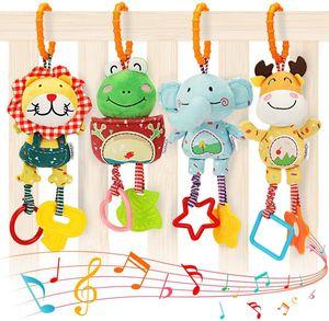 Babyspielzeug für 0, 3, 6, 9, 12 Monate, Handbells Baby Rasseln mit Beißringen Weiches Plüsch , 4er Pack