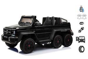 Elektro-Spielzeugauto Mercedes-Benz G63 6X6,  Rad- und Bodenbeleuchtung, 2,4 GHz, 12V14AH, herausnehmbarer Batteriekasten, 4-fach-Motor, Fernbedienung, doppelter Ledersitz, EVA-Räder, FM-Radio, Servomotor, zwei Pedal, schwarz