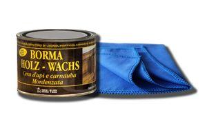 Möbelwachs farblos zur Holzschutz und Möbelpflege 500 ml mit Möbel-Poliertuch bee wax Holzwachs Wachs BORMA Holzschutzwachs transparent mit reinem Bienenwachs zur Holzpflege für Holzmöbel