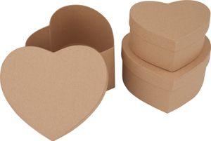 VBS Herzschachteln, 3er Set, naturfarbener Karton