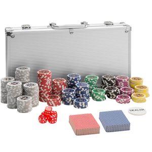 tectake Pokerset inkl. Aluminiumkoffer - silber, 300 Teile