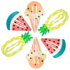 Oblique Unique 6 Haarspangen Haarclips Ananas Melone Eis Sommer Strand Hawaii Party Karneval Fasching