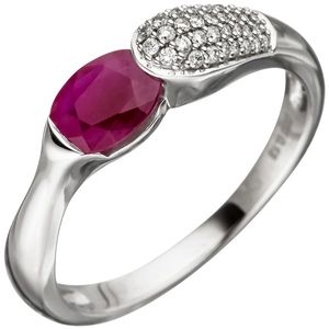JOBO Damen Ring 54mm 585 Gold Weißgold 39 Diamanten Brillanten 1 Rubin rot Rubinring
