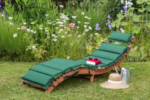 Merxx Ipanema Liege, inkl. grün/beigen Wendekissen - Farbe: Holz: braunKissen: grün/beige - Maße: 178 cm x 54 cm x 70 cm; 25177-100