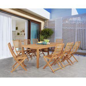 Garten Essgarnitur 8 Personen - Tisch 180 x 90 cm + 8 Klappstühle - Eukalyptusholz