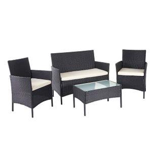 Poly-Rattan Garten-Garnitur MCW-D82, Sitzgruppe Lounge-Set  schwarz mit Kissen creme