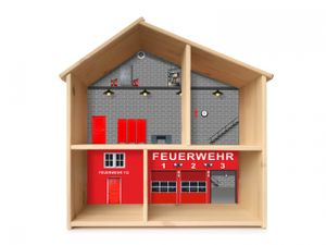 """""""Feuerwehr"""" Aufkleber für das Puppenhaus IKEA FLISAT - PHF03"""