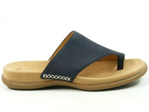 Gabor 03-700 Schuhe Damen Pantoletten Zehentrenner Nubuk, Schuhgröße:43, Farbe:Blau