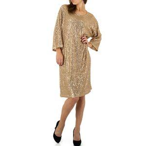Ital-Design Damen Kleider Cocktail- & Partykleider Gold Gr.s/M