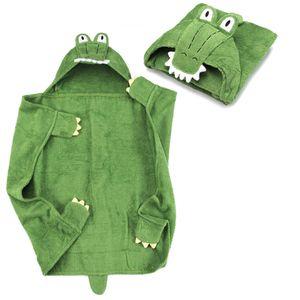 Kapuzenhandtuch - Krokodil Baby Handtuch mit Kapuze - Badeponcho Kinder Poncho aus Frottee